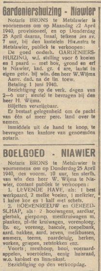 01 Willem Wijma  Advertentie Boelgoed FD 17-4-1940