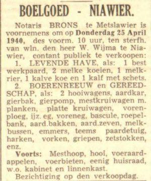 02 Willem Wijma Boelgoed Advertentie LC 17-4-1940