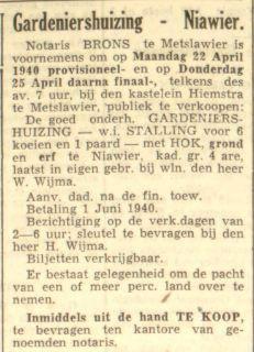 03 Willem Wijma Verkoop Woning Na Overlijden LC 17-4-1940