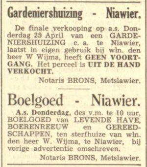04 Willem Wijma Adverntenties Verkoop En Boelgoed LC 23-4-1940