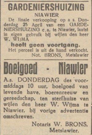 05 Willem Wijma Advertentie Verkoop Gaat Niet Door LC 23-4-1940