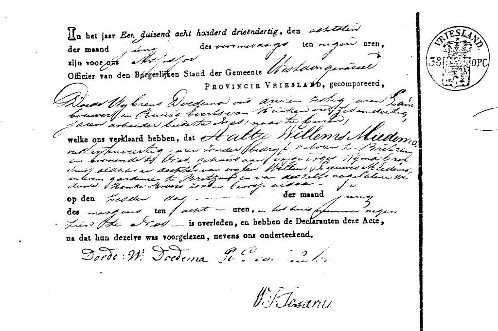 Aaltje Willems Miedema akte van overlijden