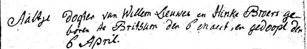 Aaltje Willems Miedema doopboek