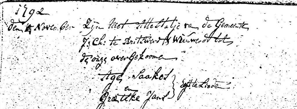 lidmatenboek 1792