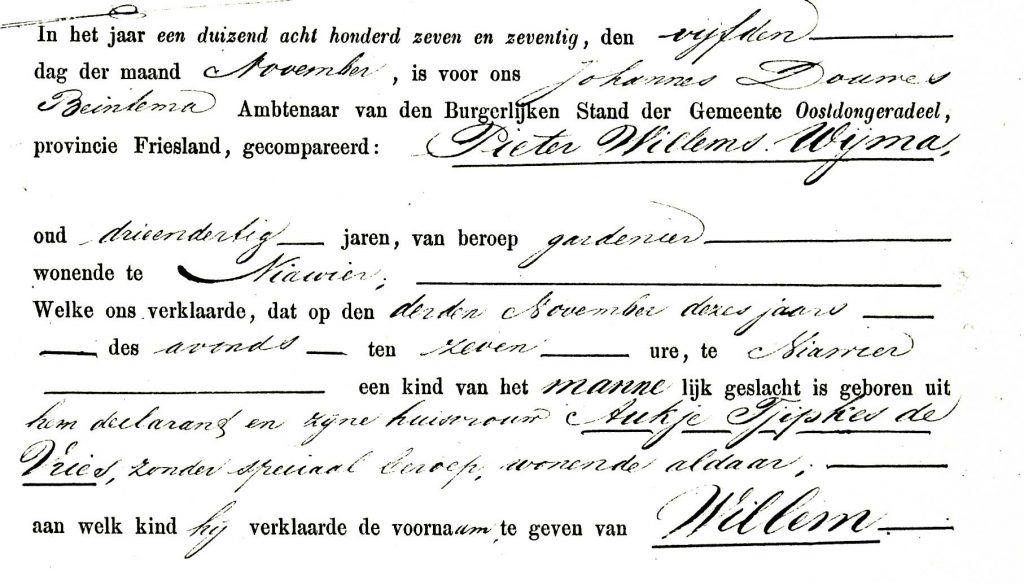 geboorteakte Willem Wijma